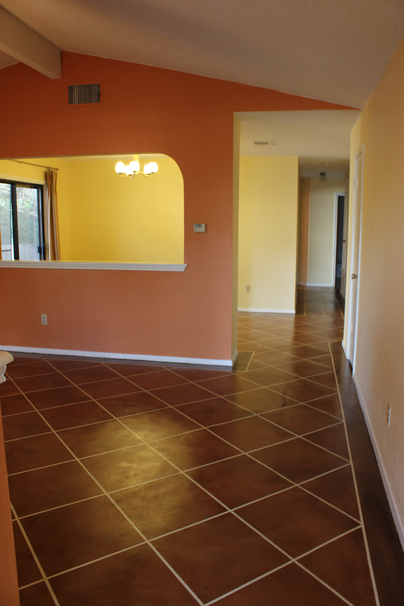 Update Our Diy Stained Concrete Floors Laura Makes