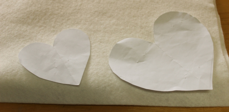 The two different heart patterns for the ornaments