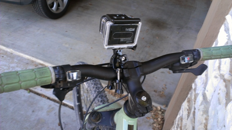 Back view of the camera on my handlebars