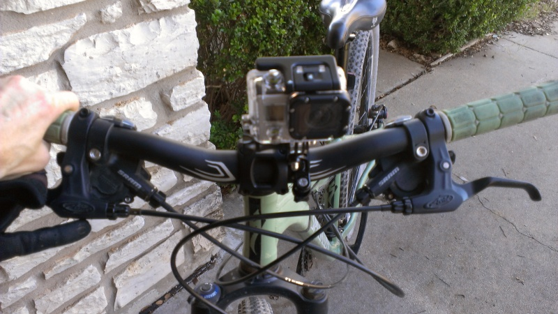 Front view of the camera mounted on my bike