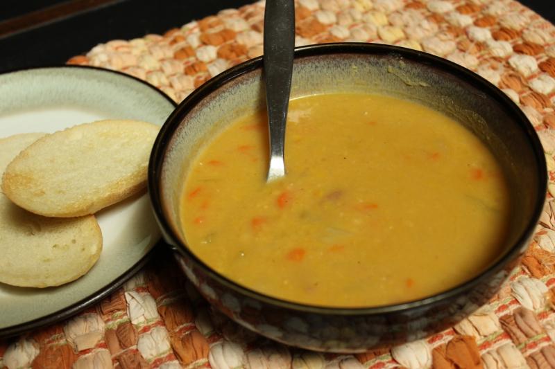 Yellow split pea soup, ready to be eaten.