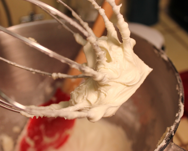 Frosting in the mixer.
