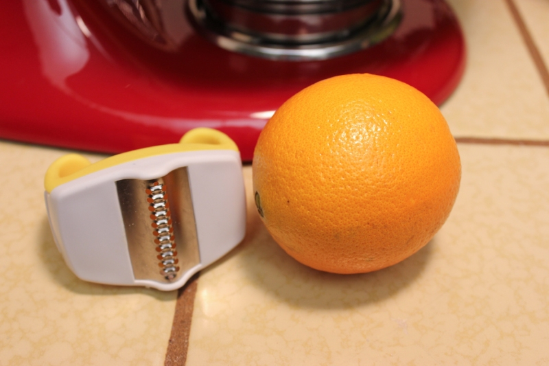 Orange for the zest. I really like this little zester - it catches the zest and is easy to hold.