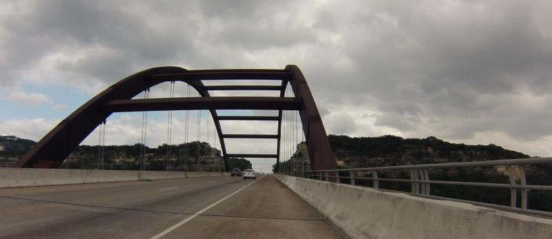 Crossing the bridge.