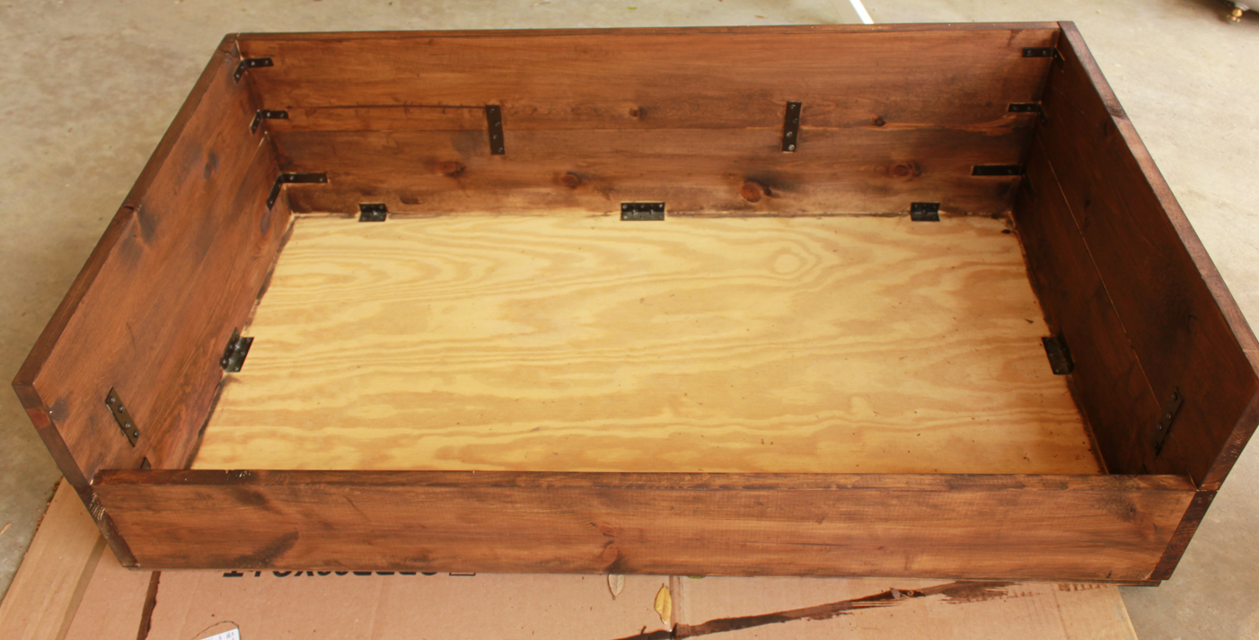 the next step was to stain the wood - Dog Bed Frame
