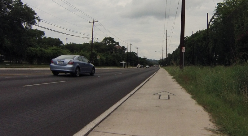 New bike lane on Lake Austin Boulevard.