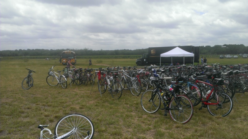 Bikes everywhere, the school bus and the UPS truck.