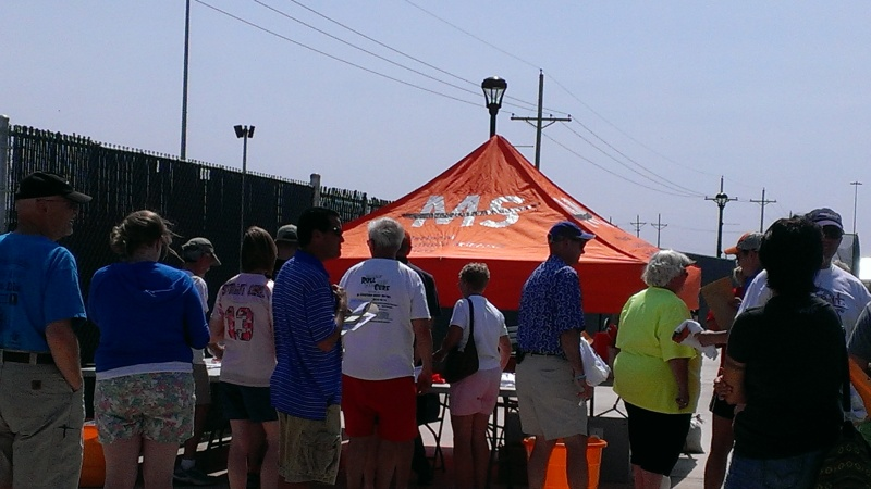 After wandering around a bit, we came back to the packet pickup tent and there was a line.