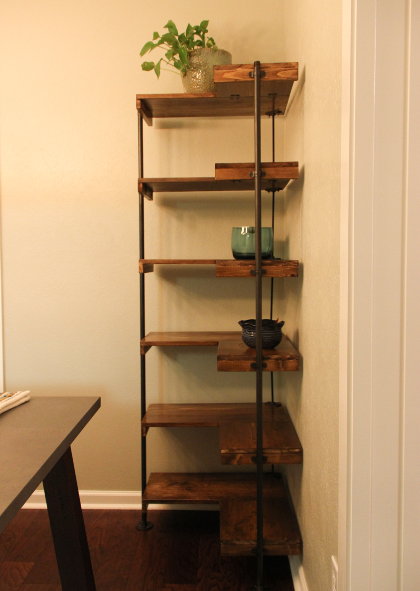 Making A Rustic Industrial Free Standing Corner Shelf Set
